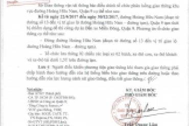 Thông báo về tổ chức điều chỉnh phân luồng giao thông đường Hoàng Hữu Nam ...